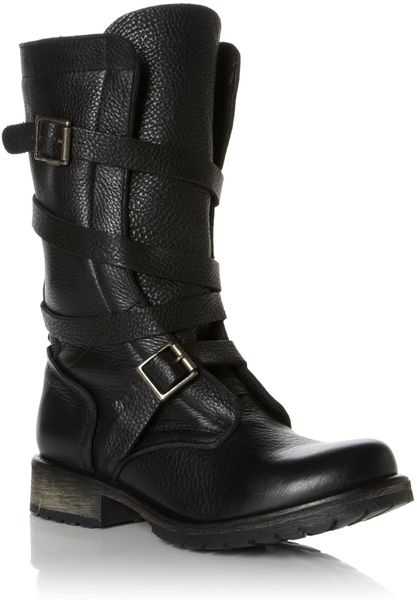 Steve Madden Banddit Sm Strappy Biker Boot In Black Lyst