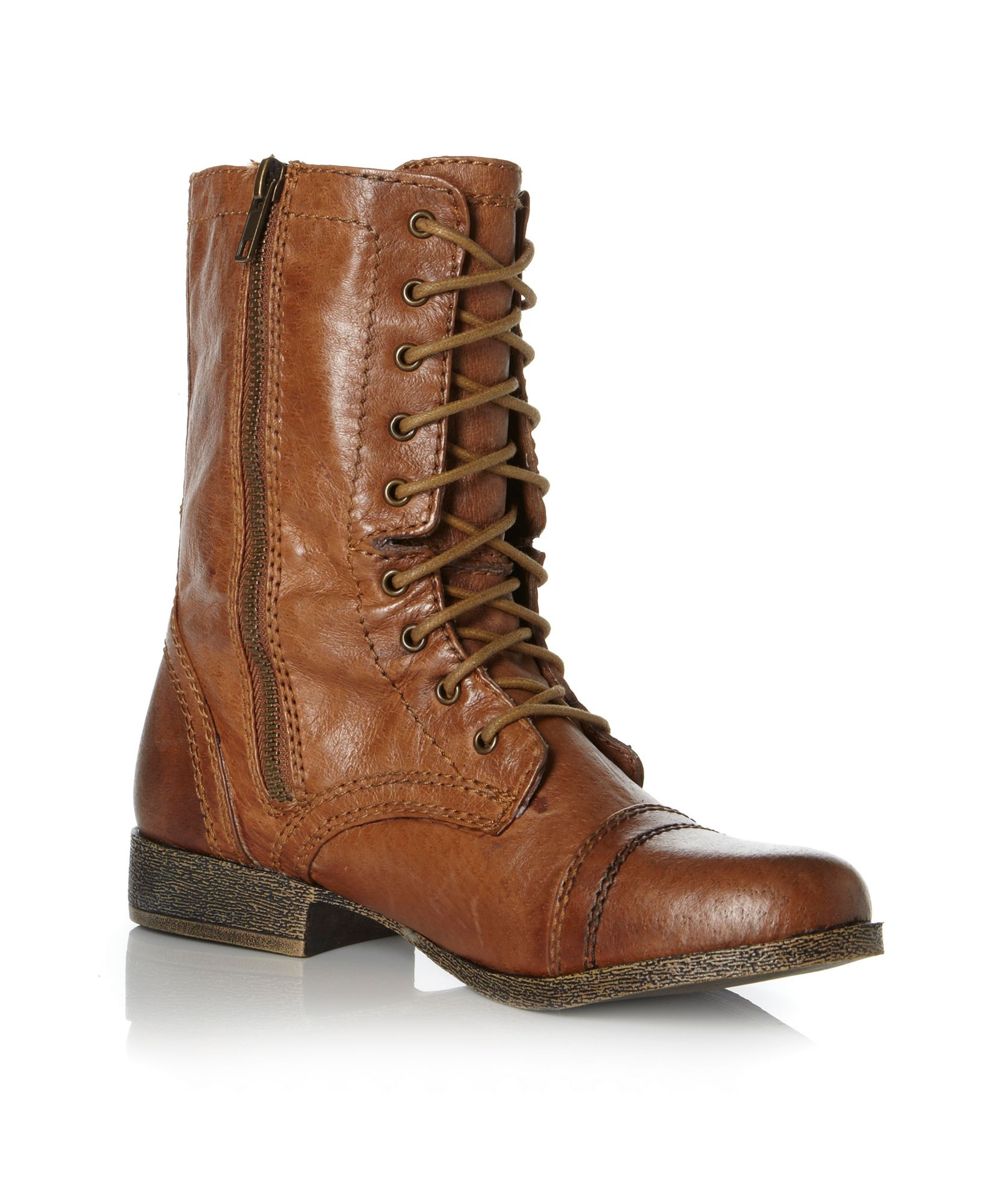 steve madden troopa sm lace up calf boots in brown