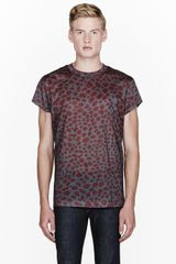 Acne Burgundy Animal Print T_shirt - Lyst