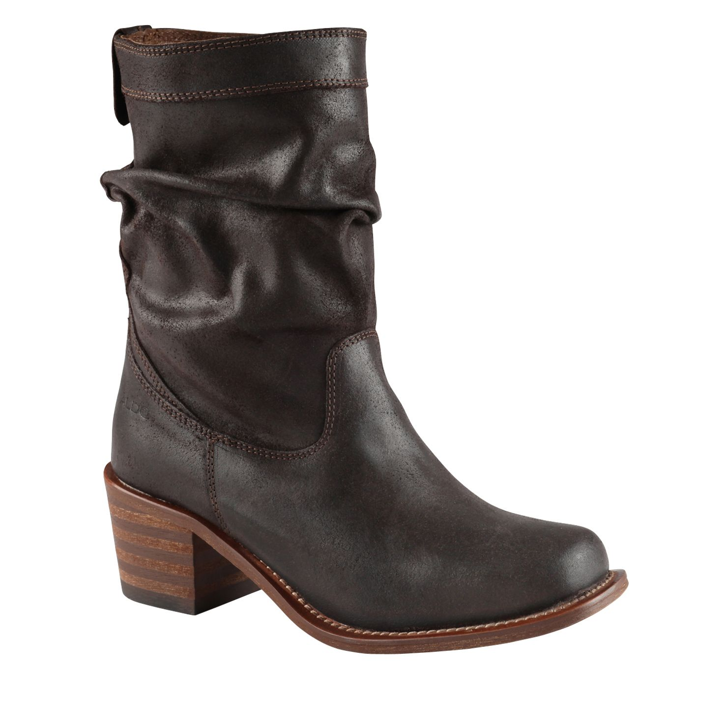 aldo charata mid heel calf boots in brown lyst