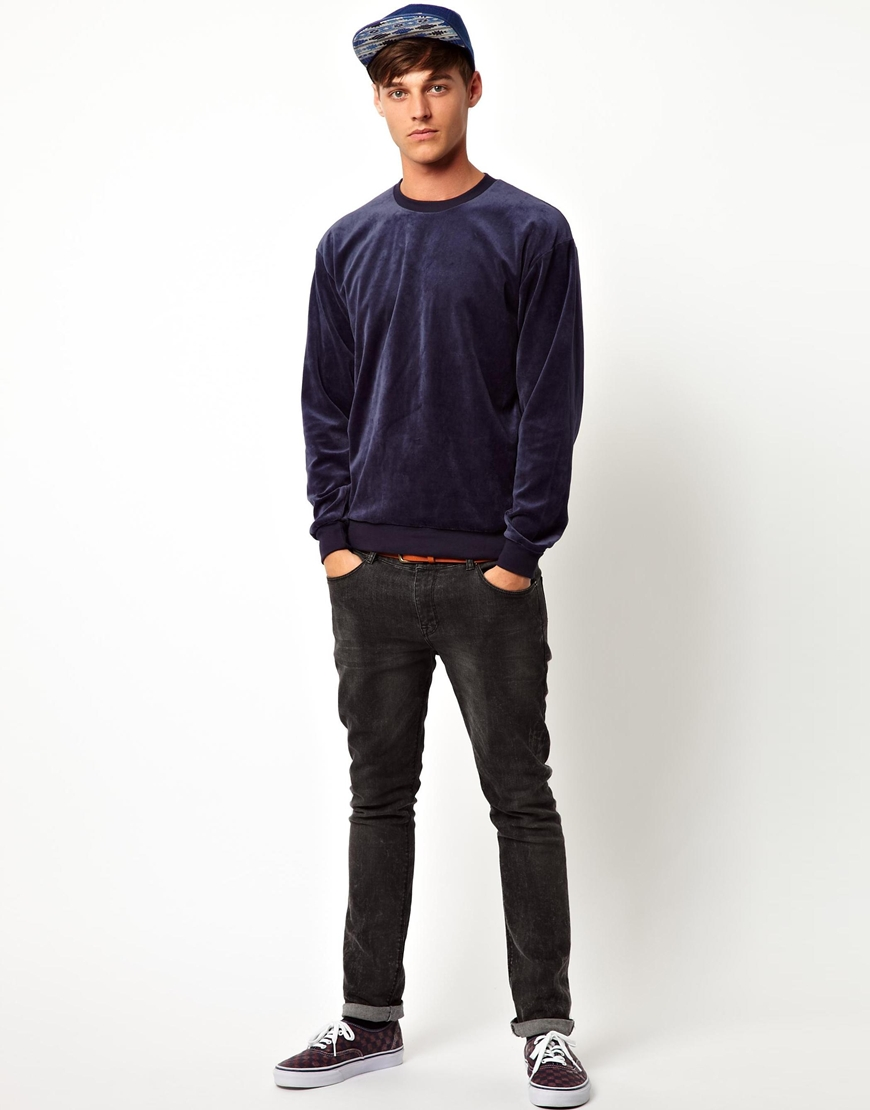 American Apparel Velour Sweatshirt Blue Men Lyst