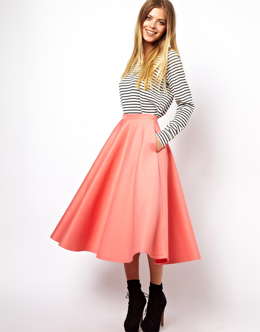 Asos Full Midi Skirt In Scuba in Pink (Peach) | Lyst