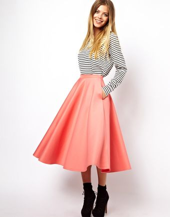 Asos Full Midi Skirt in Scuba - Lyst