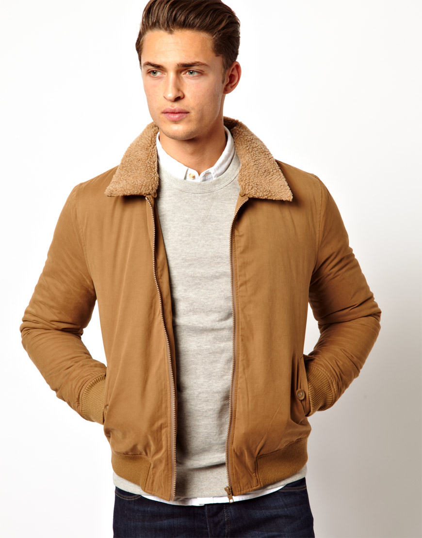 Asos Bomber Jacket With Borg Collar In Tobacco Brown For