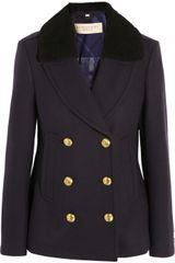 Burberry Brit Shearlingcollar Wool Blend Coat - Lyst