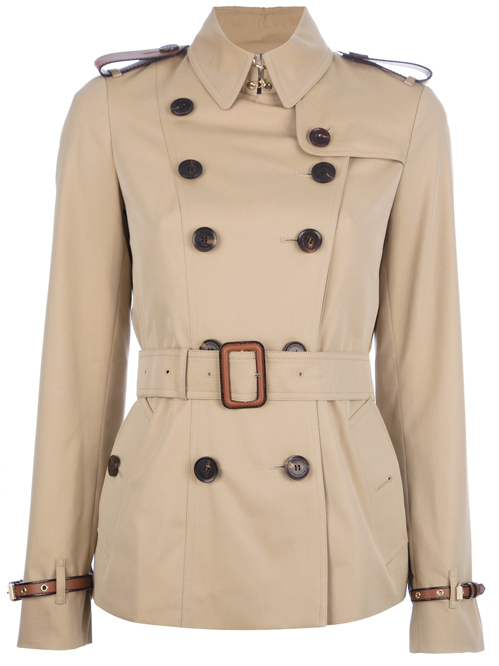 Burberry Brit Short Belted Trench Coat In Beige (honey)