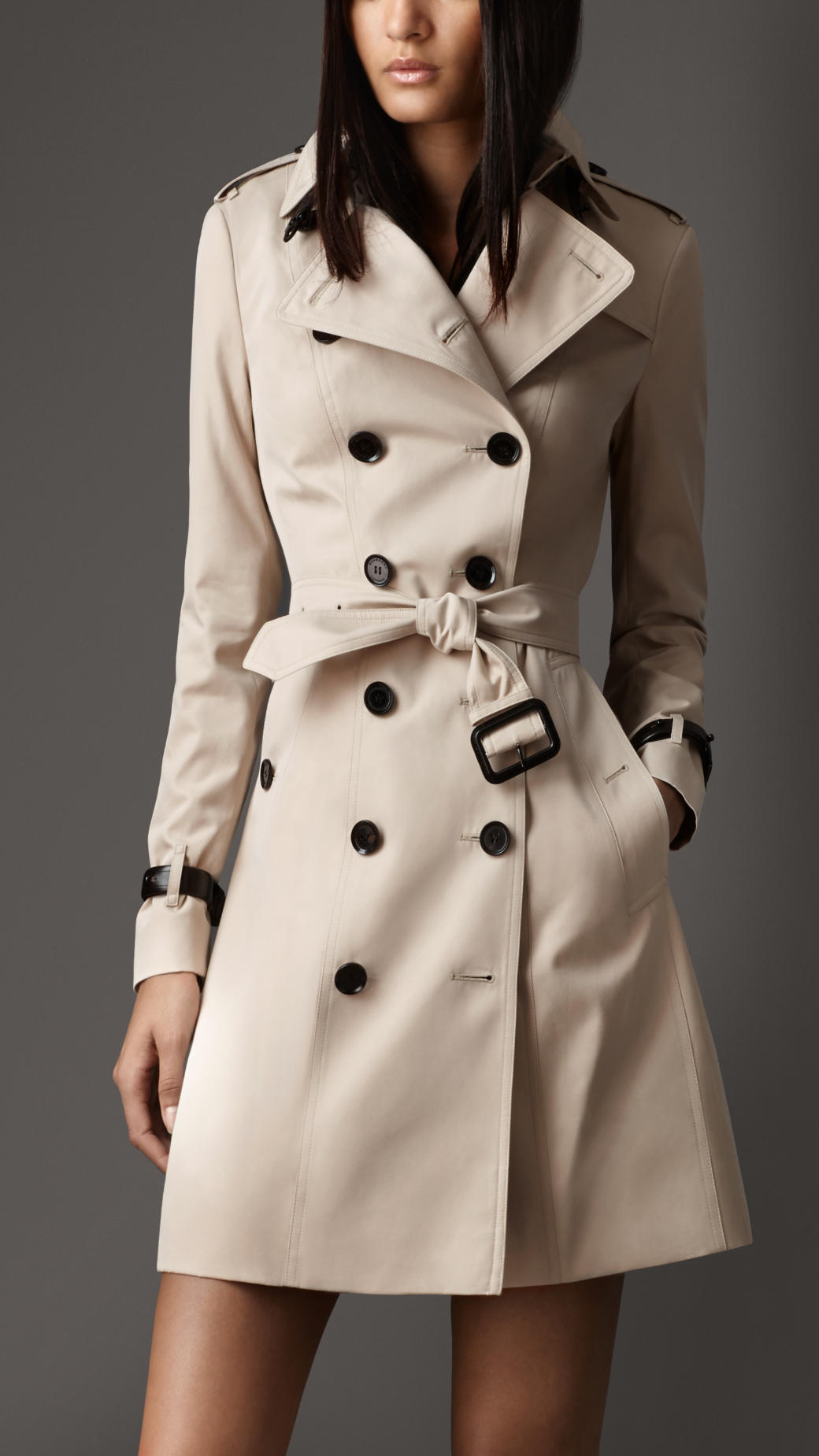 Burberry Long Leather Detail Gabardine Trench Coat in ...