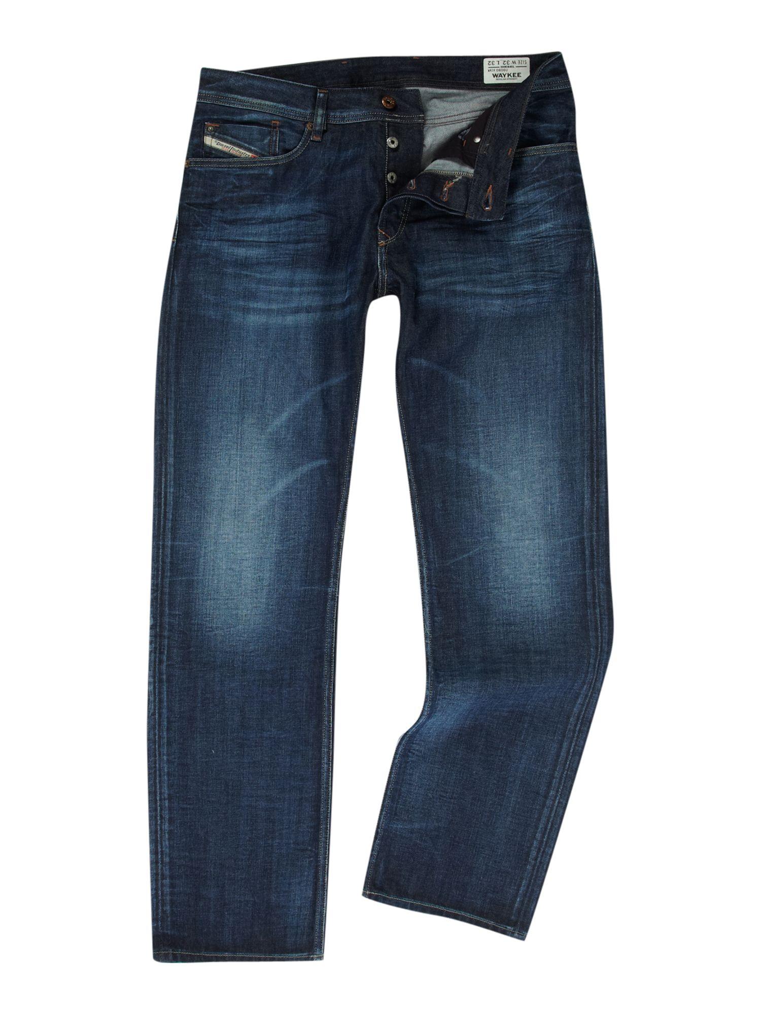 diesel tapered fit jeans in blue for men denim lyst. Black Bedroom Furniture Sets. Home Design Ideas