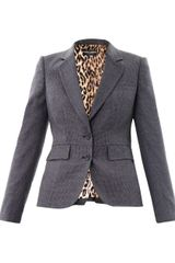 Dolce & Gabbana Microcheck Wool Riding Jacket - Lyst