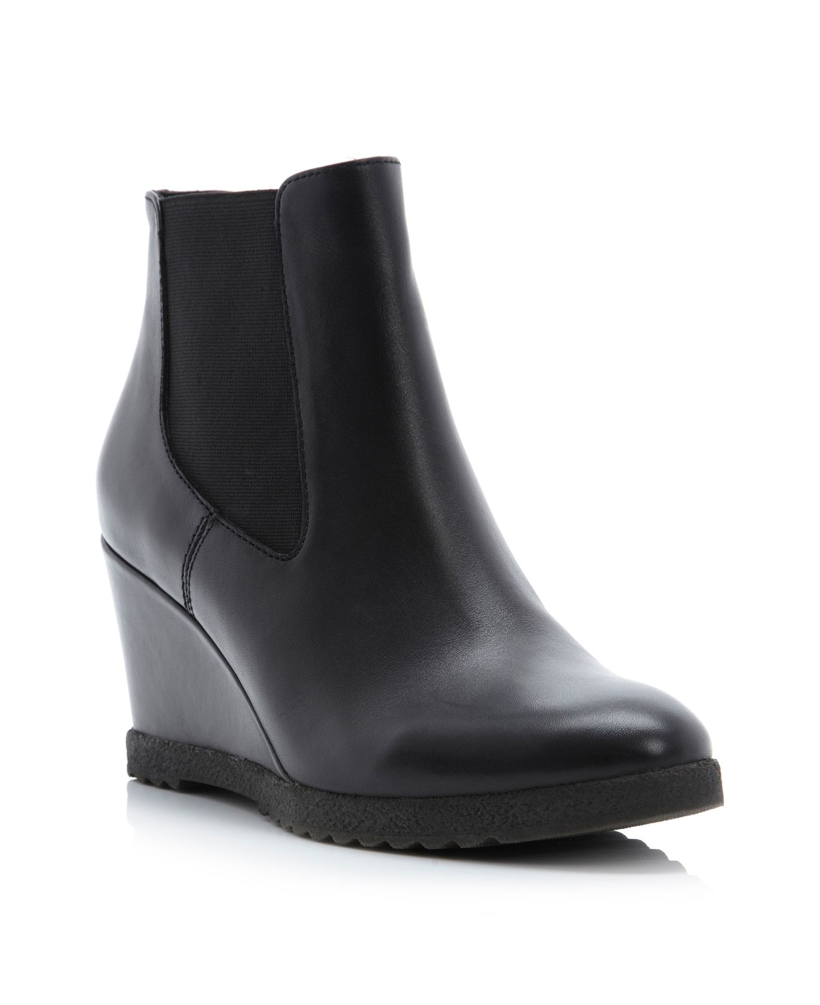 dune pontin wedge chelsea low boots in black black