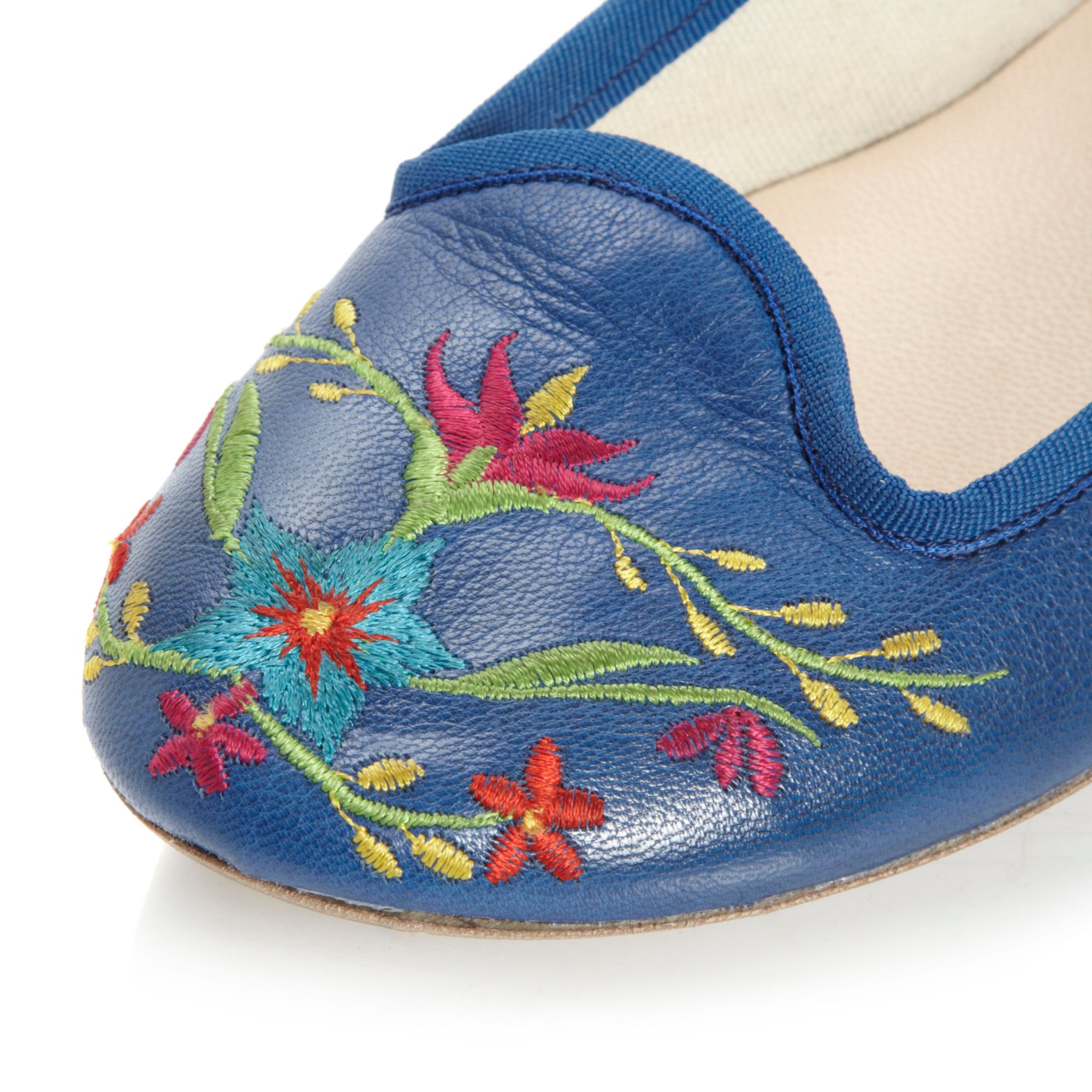 40e51b945 Dune Lolapine Embroidery Slipper Cut Loafer Shoes in Blue - Lyst