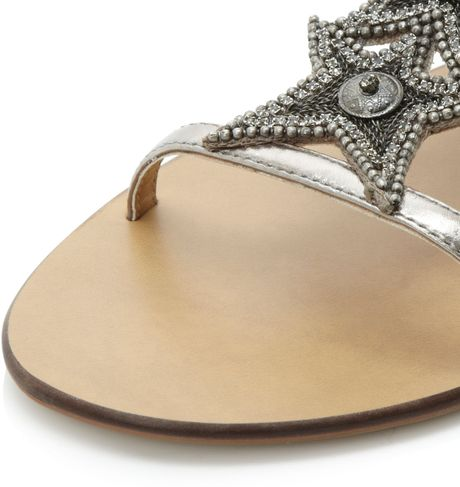 Dune Karry Star Diamante Flat Sandals In Silver Pewter