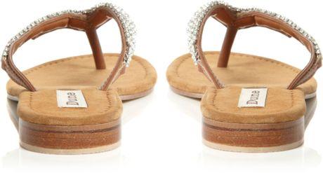 Dune Keeper Diamante Toe Post Flip Flop Sandals In Silver