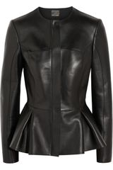 Fendi Peplum Leather Jacket - Lyst