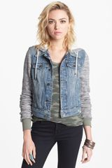 Free People Denim Knit Jacket - Lyst