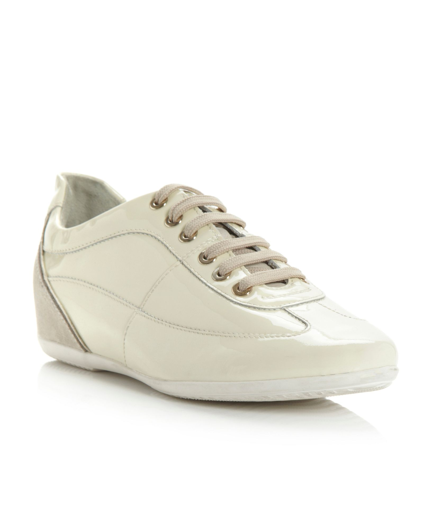 geox vague leather trainer shoes in gray white lyst