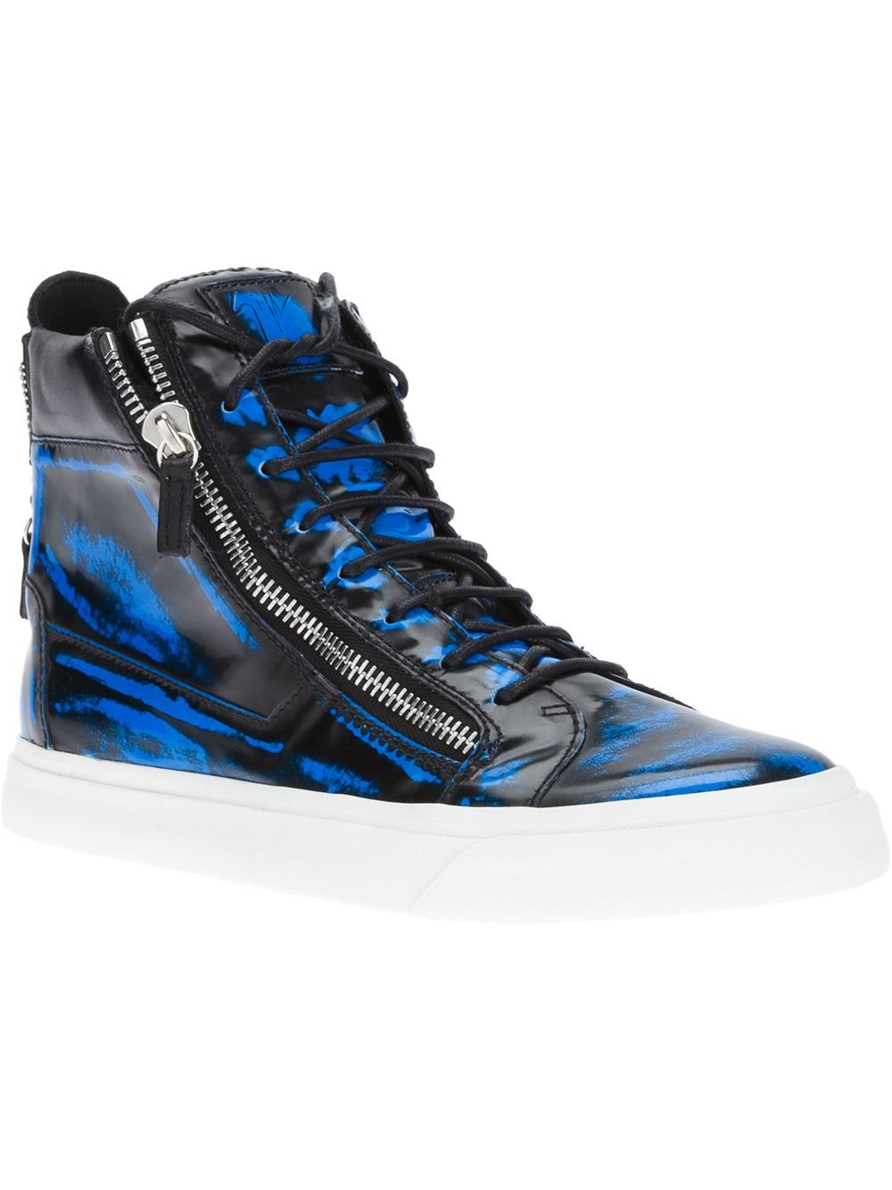 purchase cheap 756cd 9d318 Lyst - Giuseppe Zanotti Blotchy Print Hitop in Blue for Men