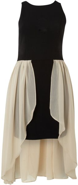 Glamorous Hi Low Chiffon Dress in Beige (Black) - Lyst