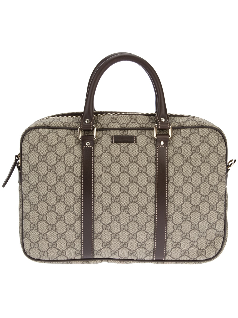 gucci monogrammed laptop bag in natural for men