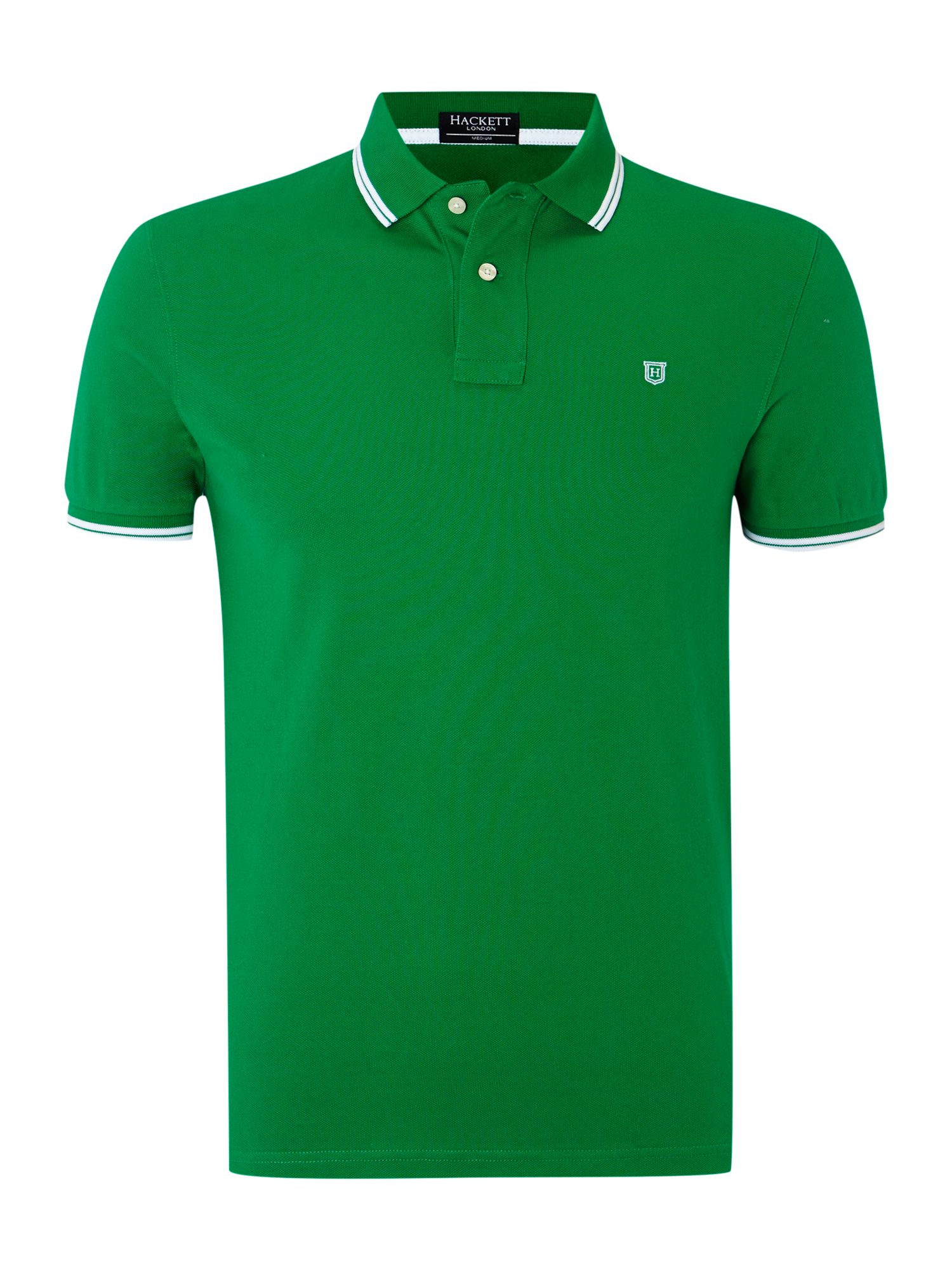 Hackett regular fit double tip polo shirt in green for men for Dark green mens polo shirt