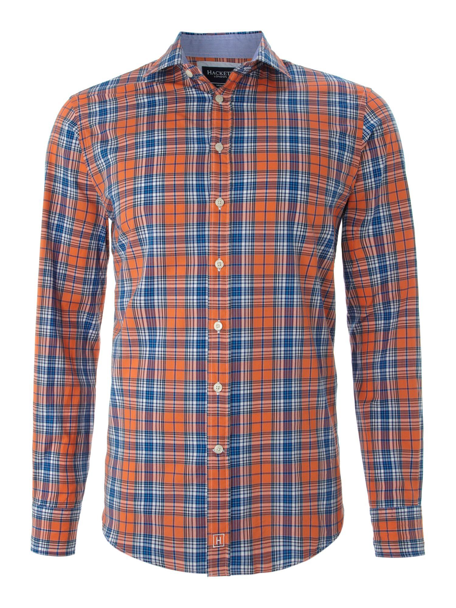 Hackett Long Sleeve Check Shirt In Blue For Men Orange