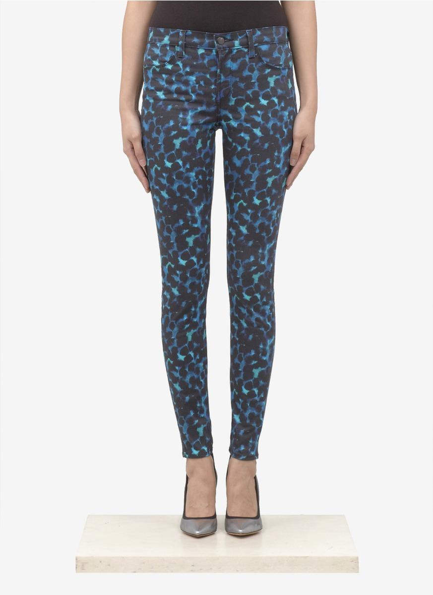 J brand Printed Skinny Jeans in Black   Lyst