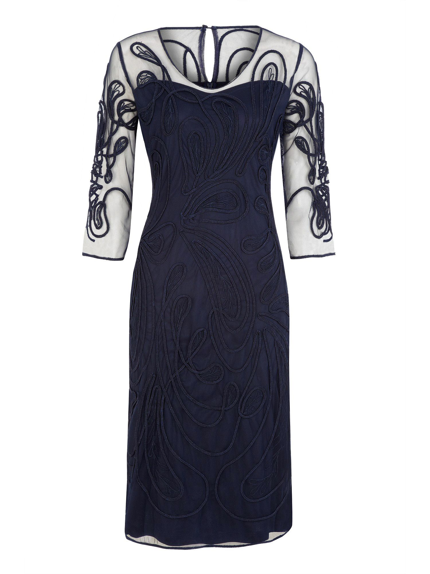 jacques vert cornelli sheer navy dress in blue lyst