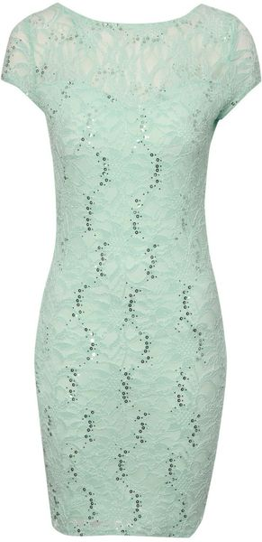 Jane Norman Sequin Zip Back Lace Dress - Lyst