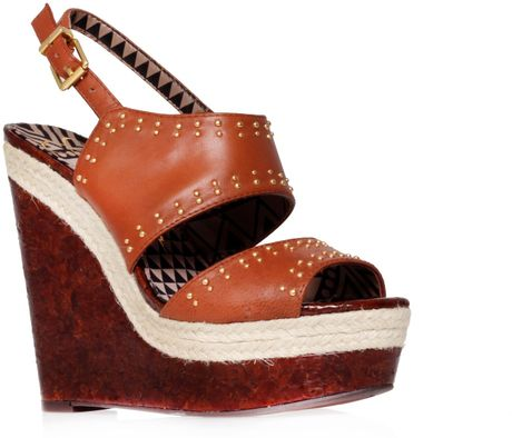 Jessica Simpson Geno Wedge Sandals in Brown (Tan