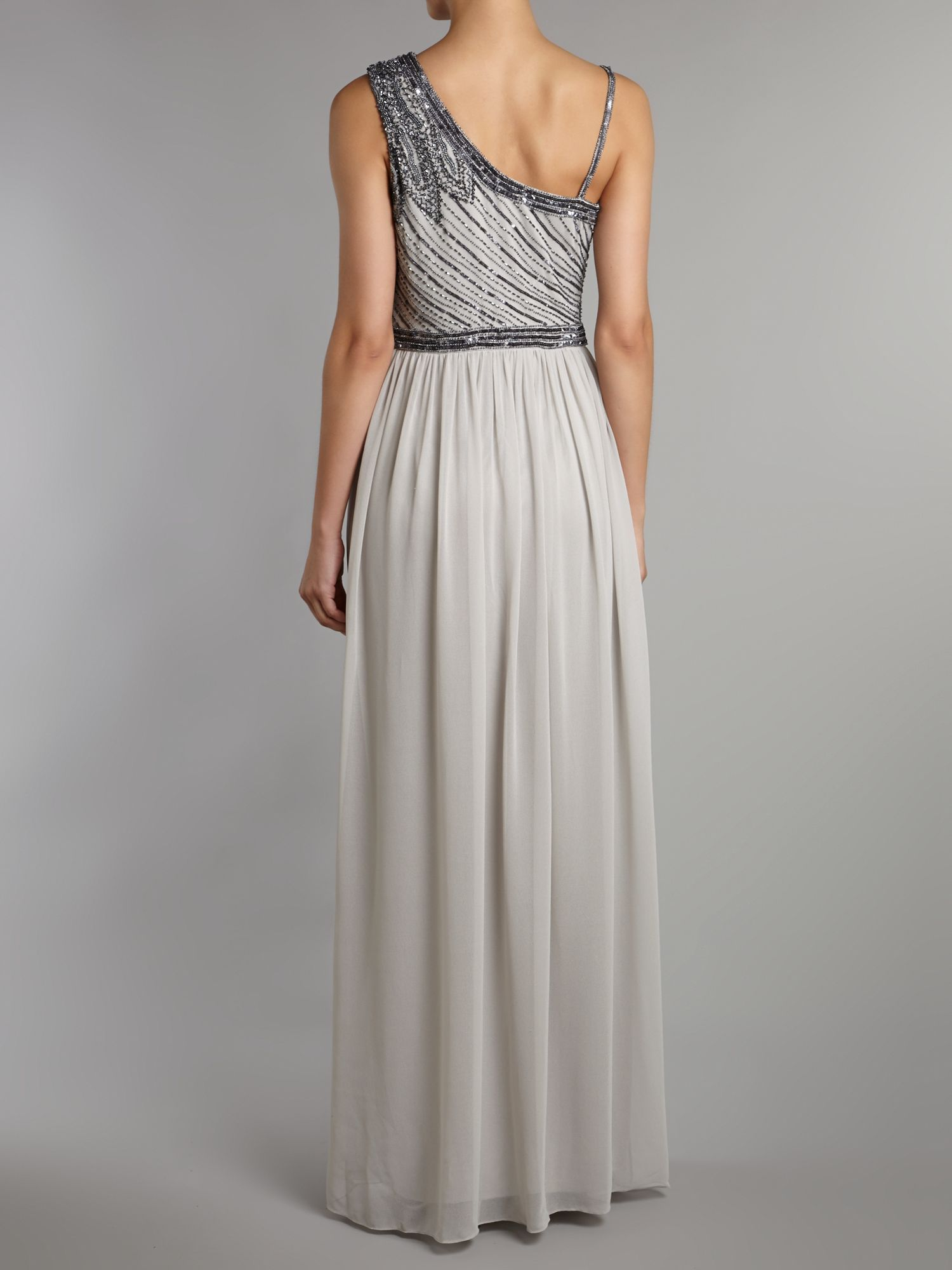 Js Collections Leaf Beaded Chiffon Dress In Gray Lyst