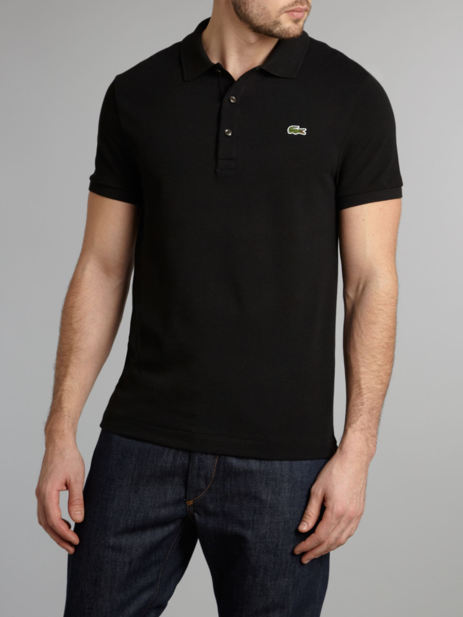 Lacoste classic slim fitted polo shirt in black for men lyst for Black fitted polo shirt