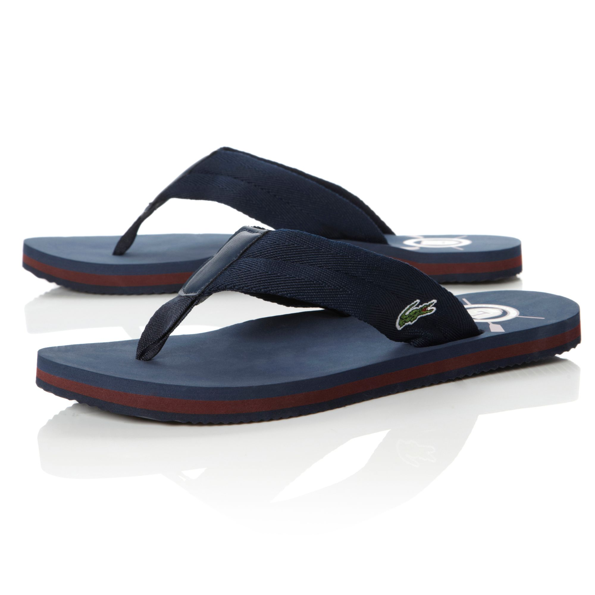 Lacoste Randle Toepost Flip Flop Sandals In Blue For Men