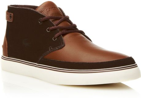 lacoste clavel 7 casual boots in brown for men tan  lyst