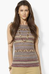 Lauren by Ralph Lauren Sleeveless Stripe Sweater - Lyst