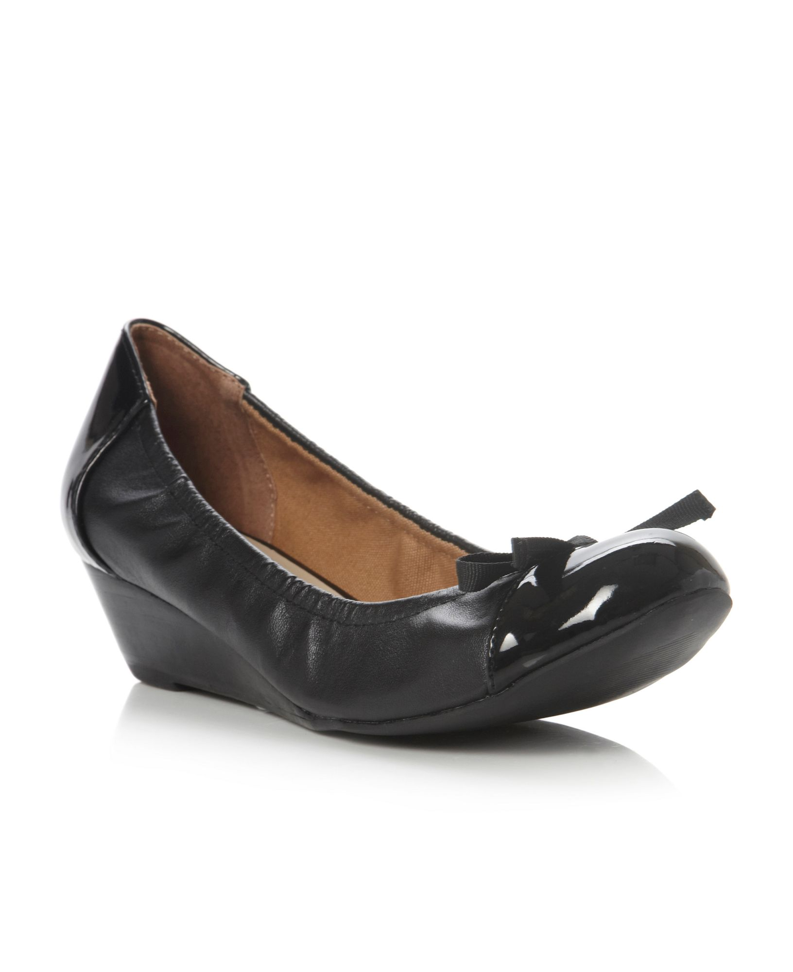 linea argyle bow trim low heel wedge shoes in black lyst