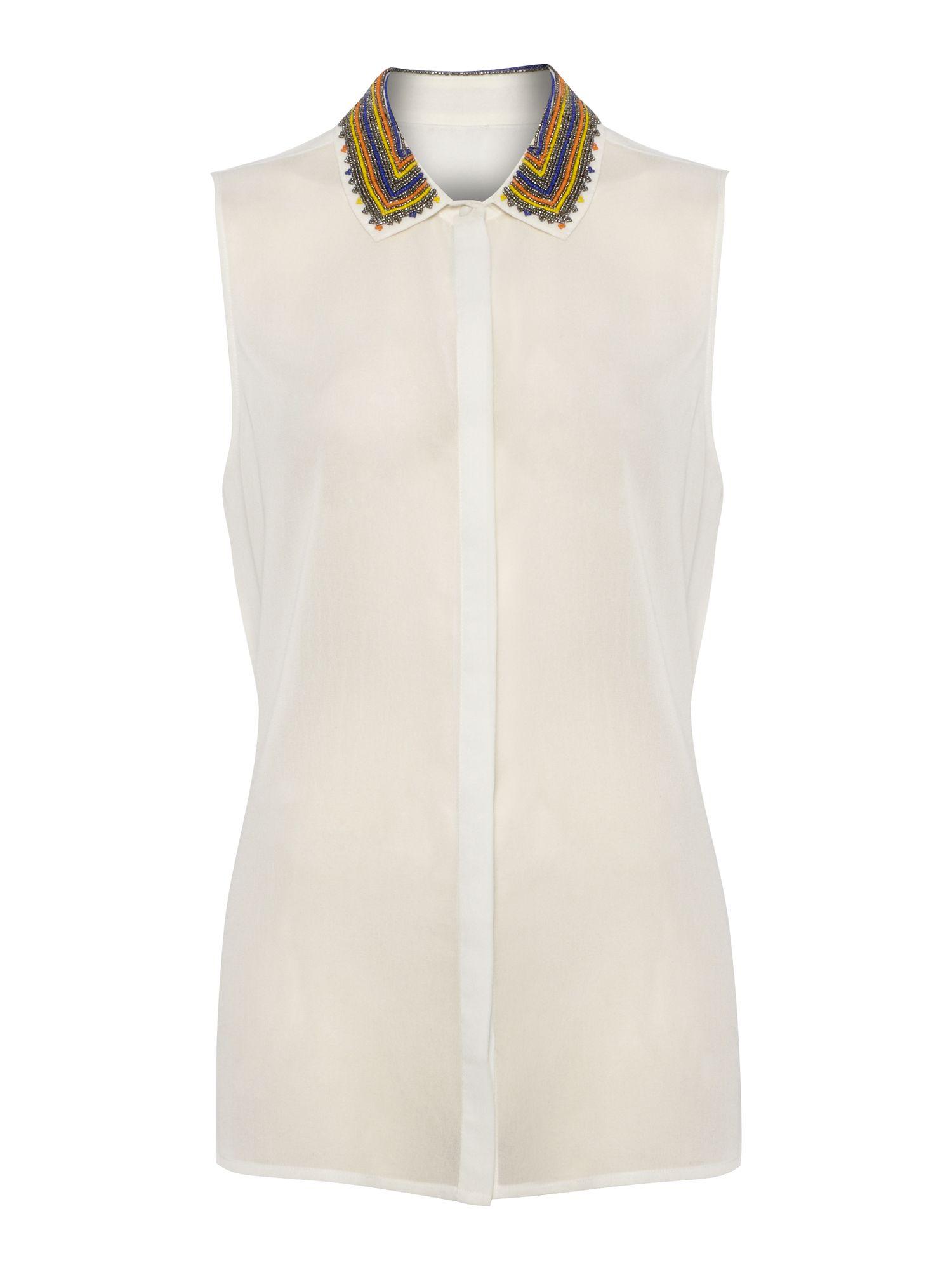 Ladies white sleeveless shirt artee shirt for Sleeveless white shirt with collar