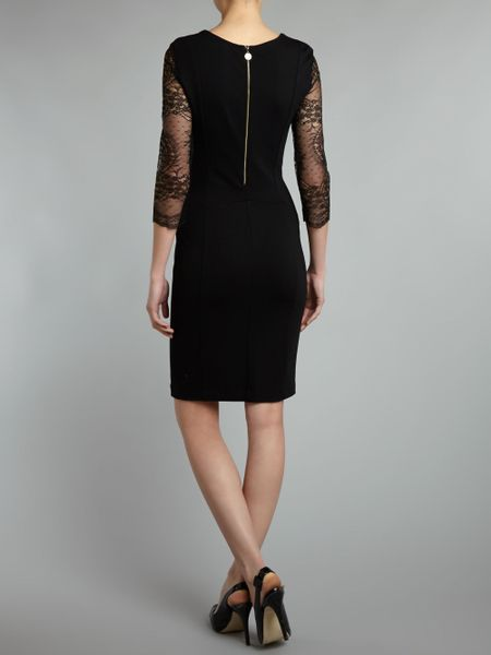 Liu Jo Long Sleeved Cowl Neck Dress With Lace Sleeve In