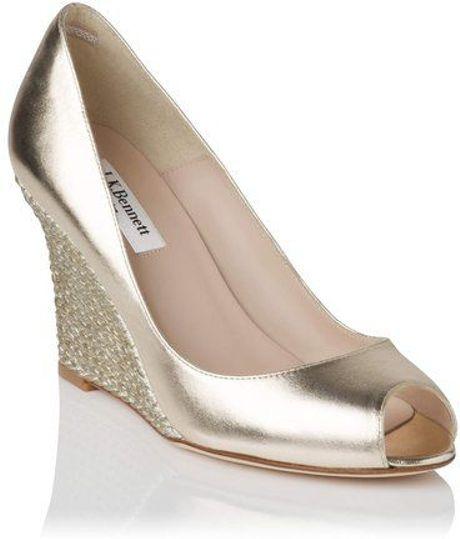 L K Bennett Estela Peep Toe Jute Wedge Shoes In Gold Lyst
