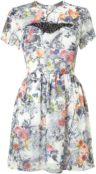 Love Birt Print Mini Dress - Lyst
