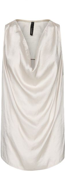 Mango Draped Satin Top - Lyst