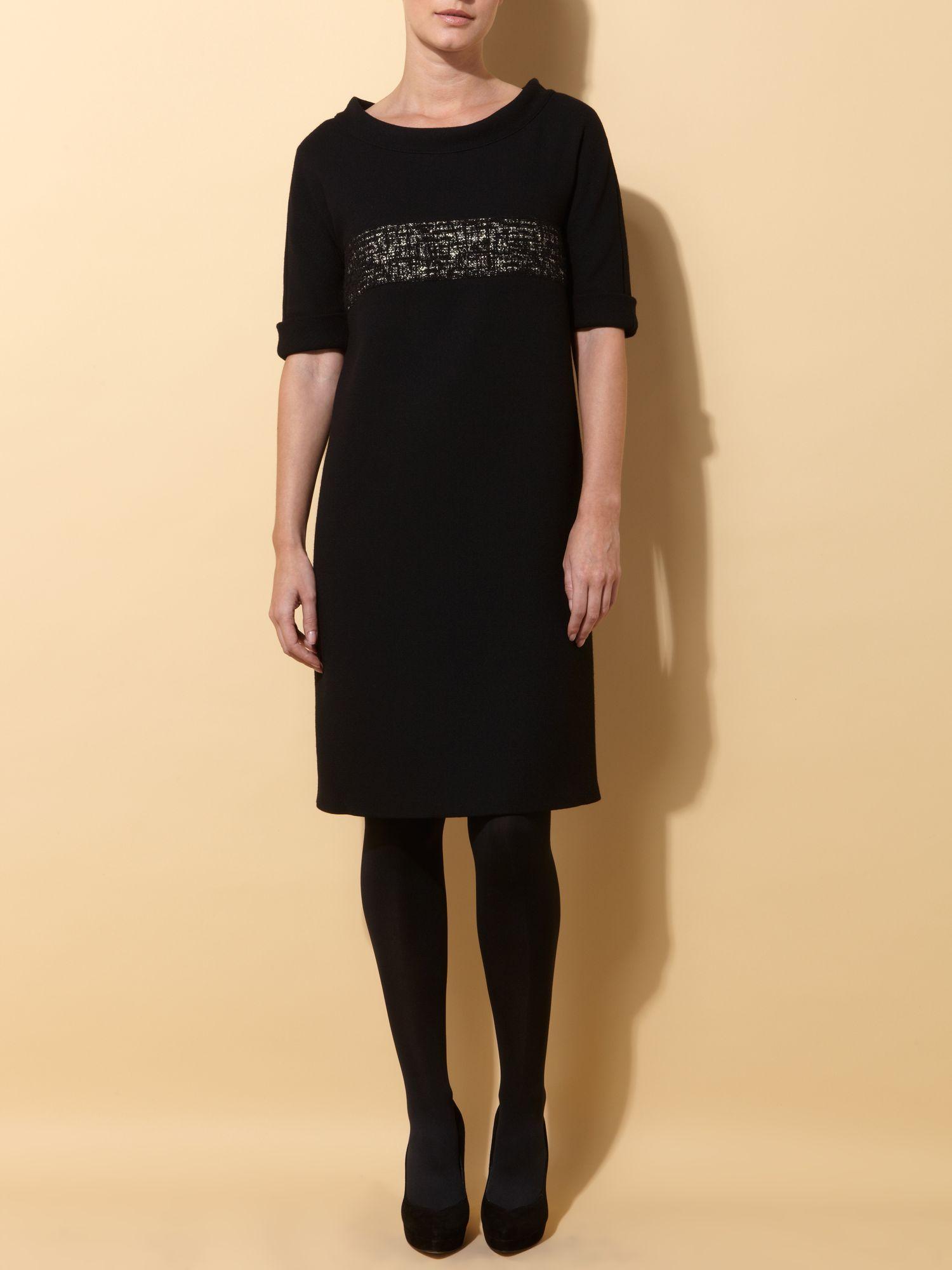max mara studio elleni short sleeve dress with metallic. Black Bedroom Furniture Sets. Home Design Ideas