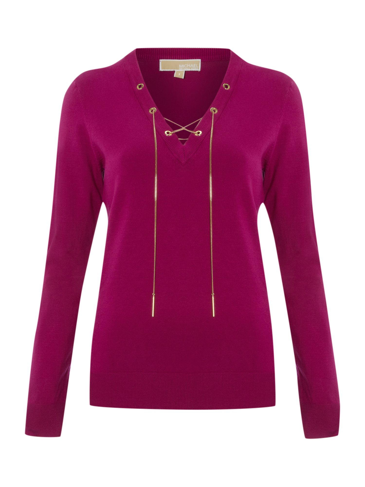 michael michael kors long sleeve pullover with neck tie in purple pink lyst. Black Bedroom Furniture Sets. Home Design Ideas