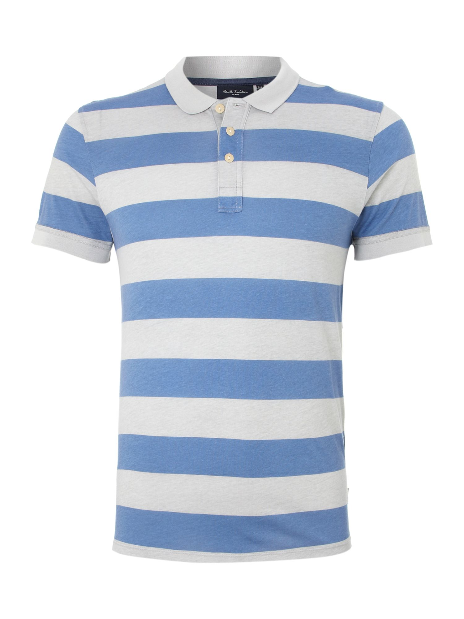 Paul smith printed striped polo shirt in blue for men sky for Blue striped shirt mens