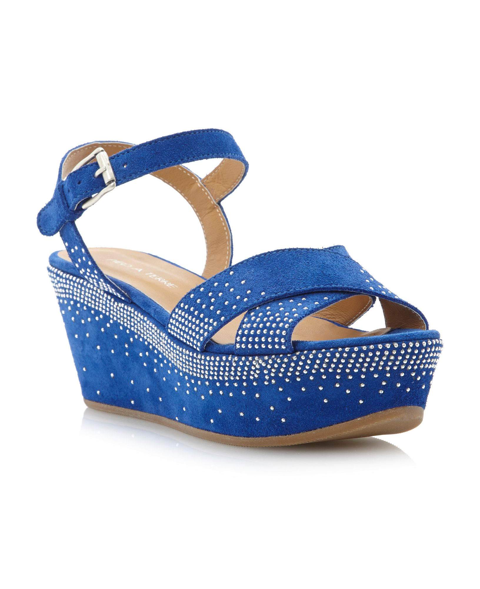 Pied A Terre Lexla Cross Vamp Flatform Shoes In Blue Lyst