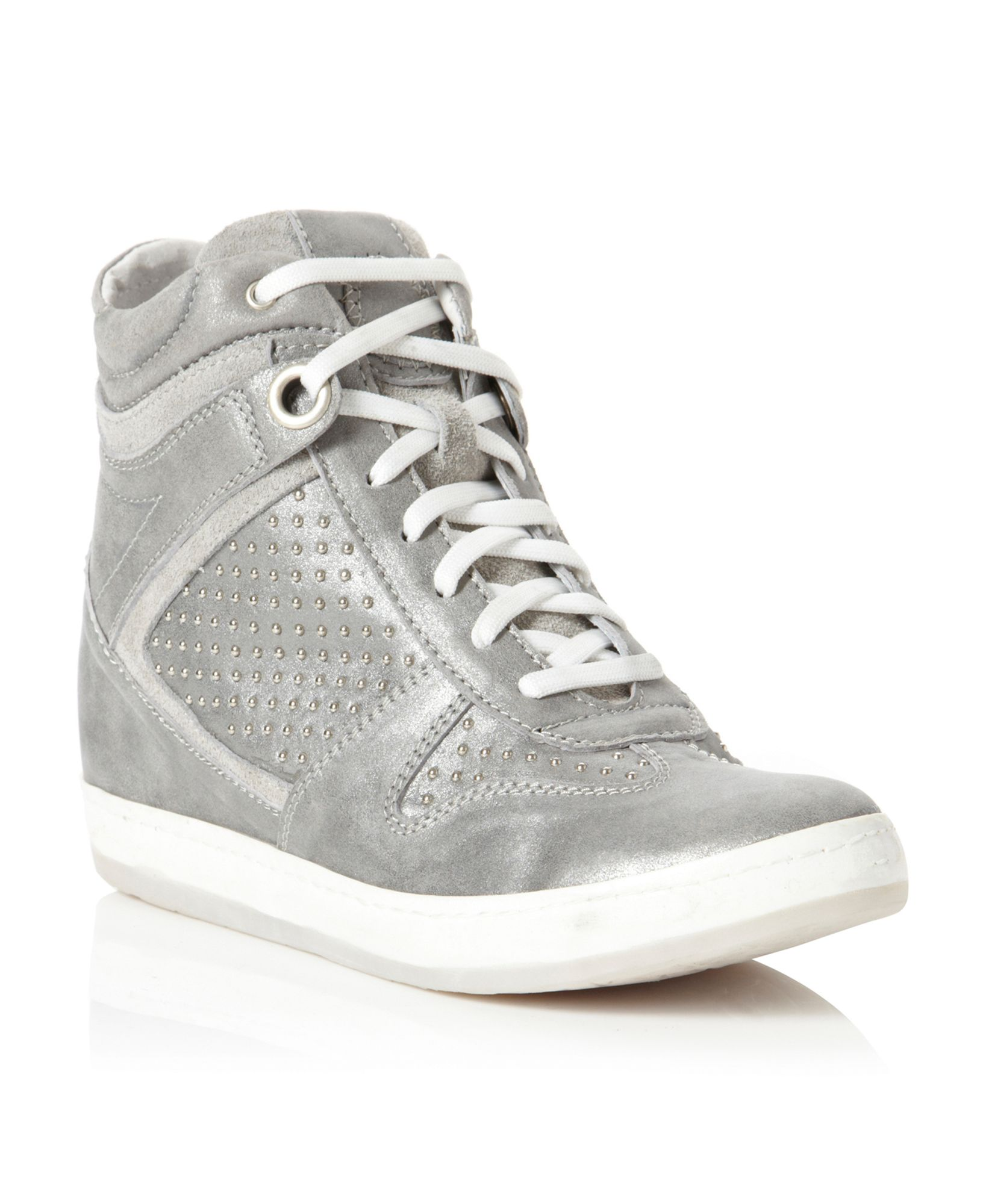 Pied A Terre Paine Studded Wedge Trainer Shoes In Gray