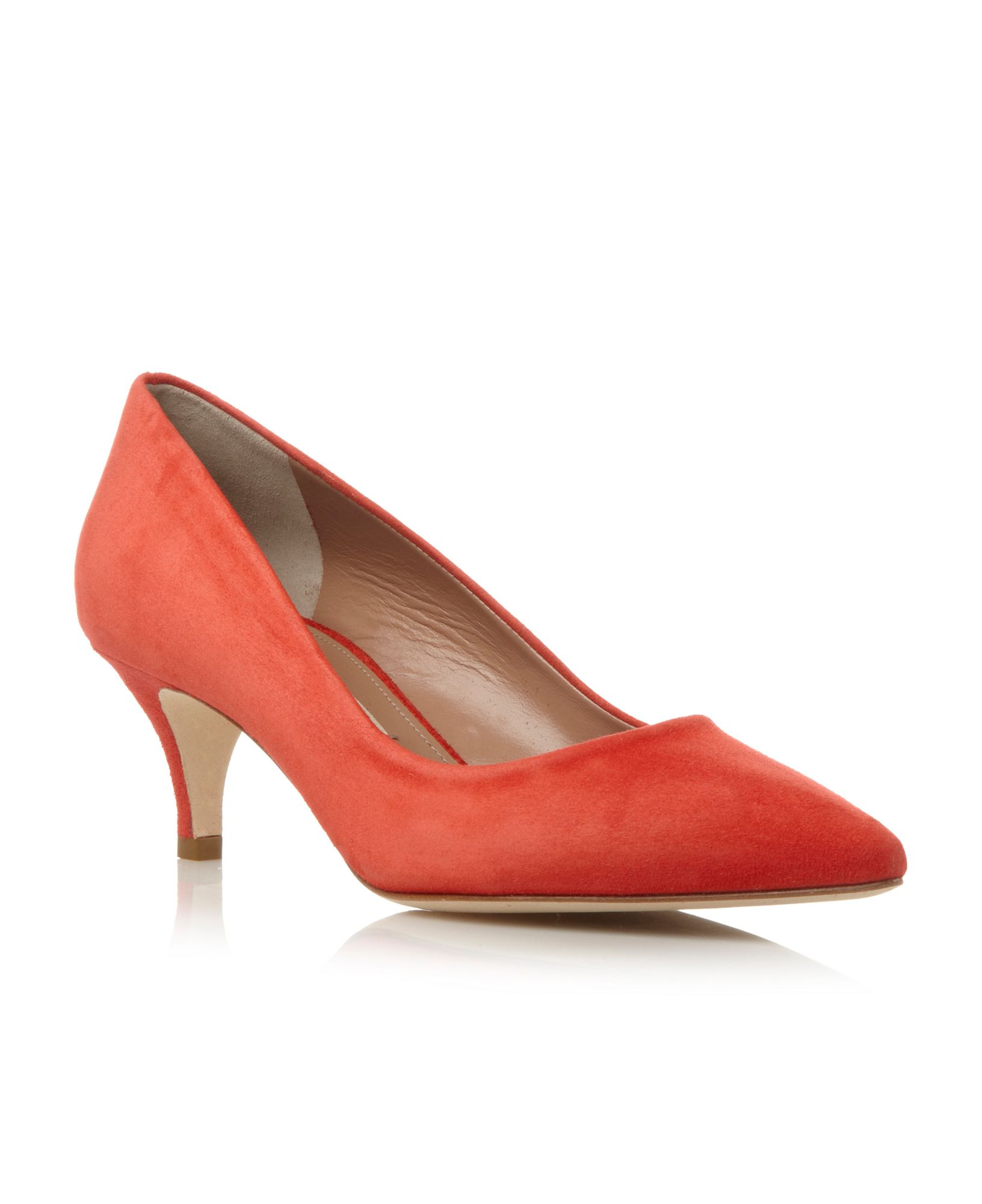 Pied A Terre Abir Kitten Heel Pointed Court Shoes In Red