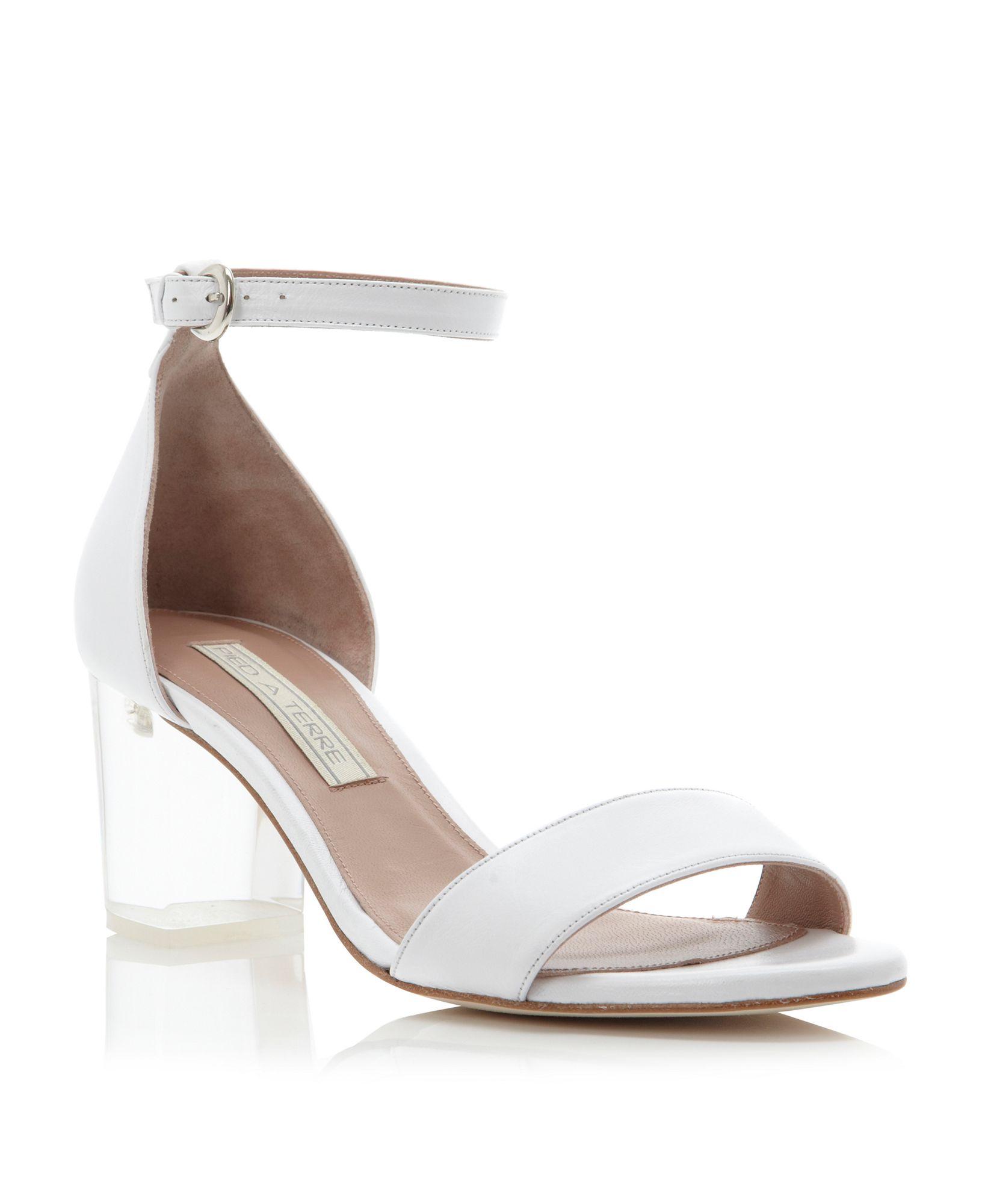 f408dc2ee Lyst - Pied A Terre Jutte Perspex Block Heel Sandals in White