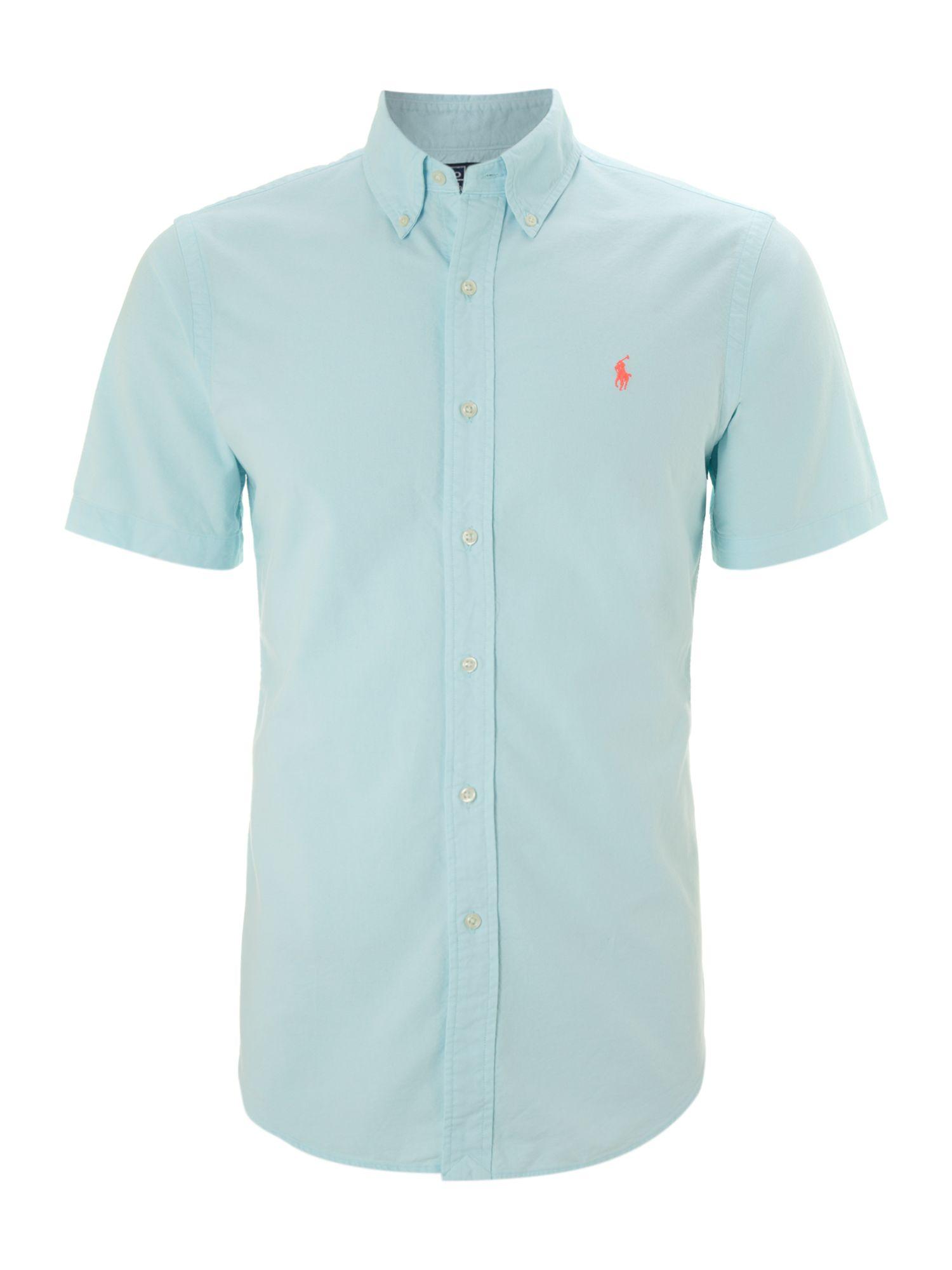 Polo Ralph Lauren Short Sleeve Custom Fit Shirt In Blue