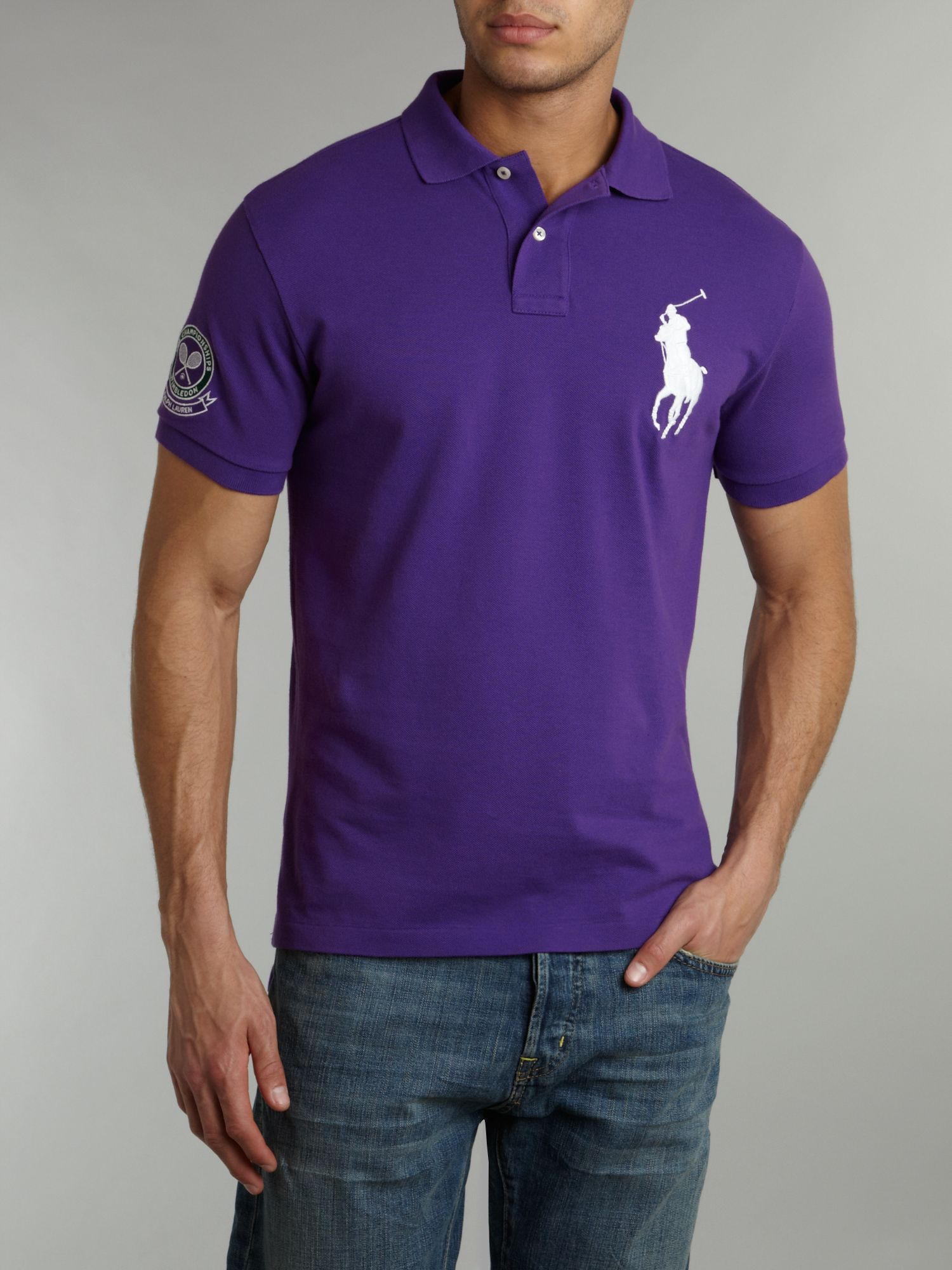 Polo ralph lauren wimbledon big pony mesh polo shirt in Man in polo shirt