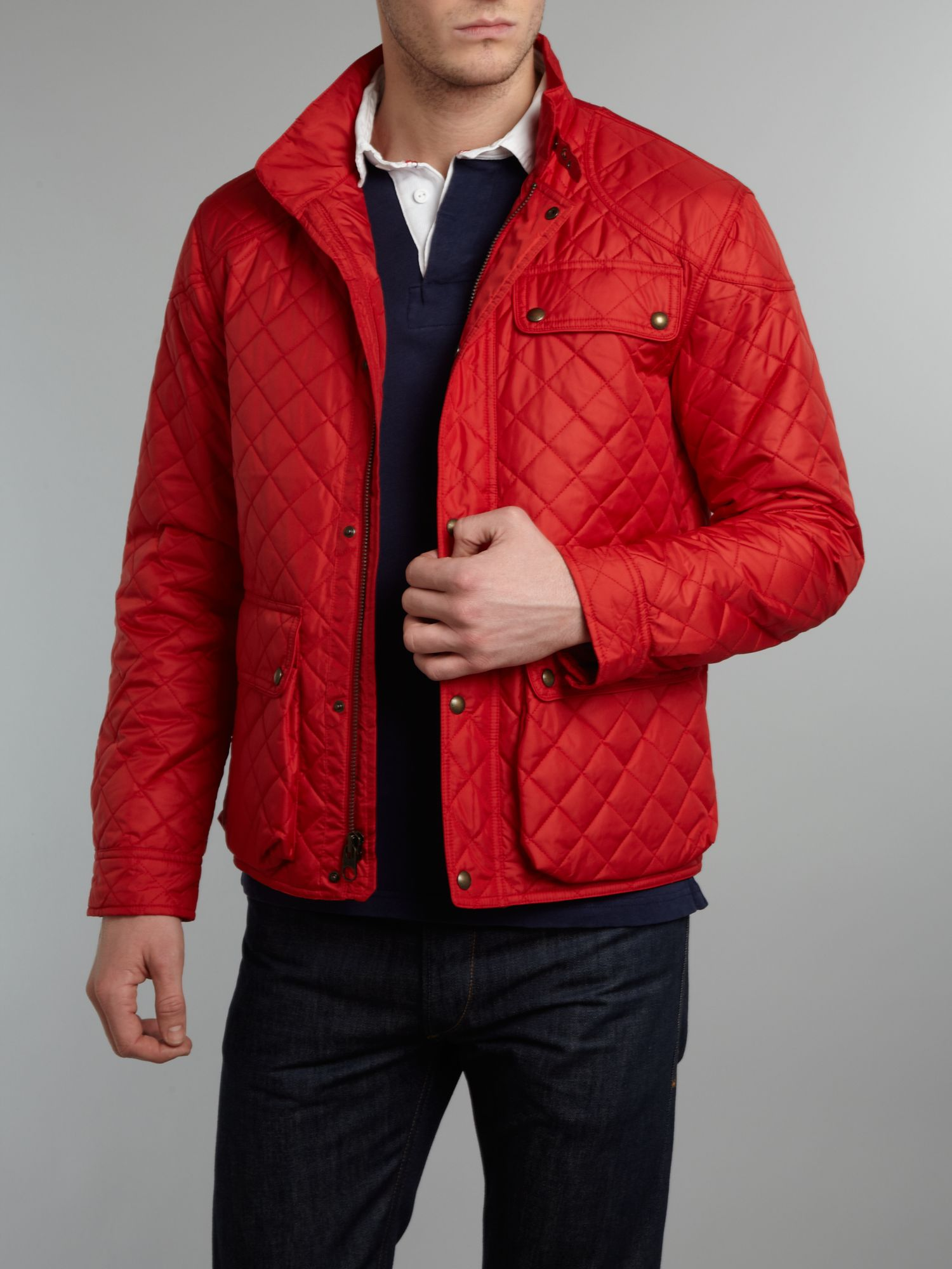 polo ralph lauren cadwell quilted bomber jacket in red for men lyst. Black Bedroom Furniture Sets. Home Design Ideas